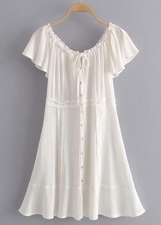 Off Shoulder Dress in White