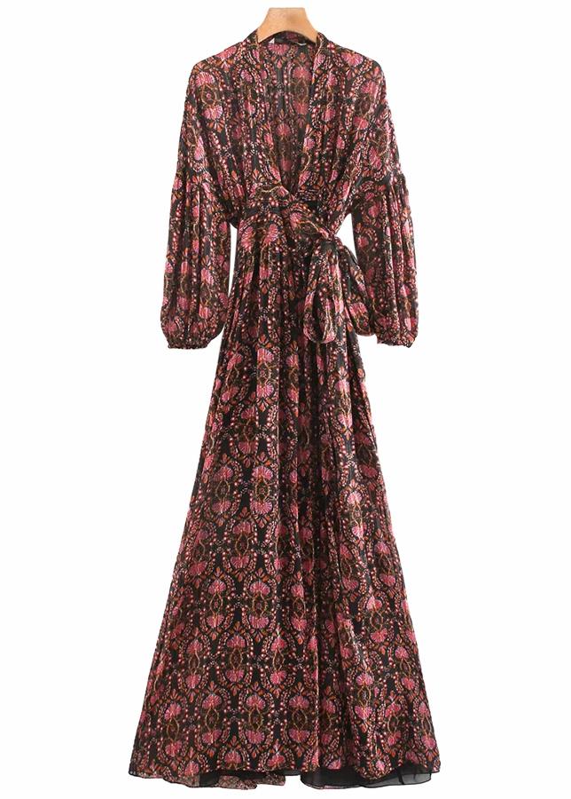 Waist Tie Detail Floral Maxi Dress