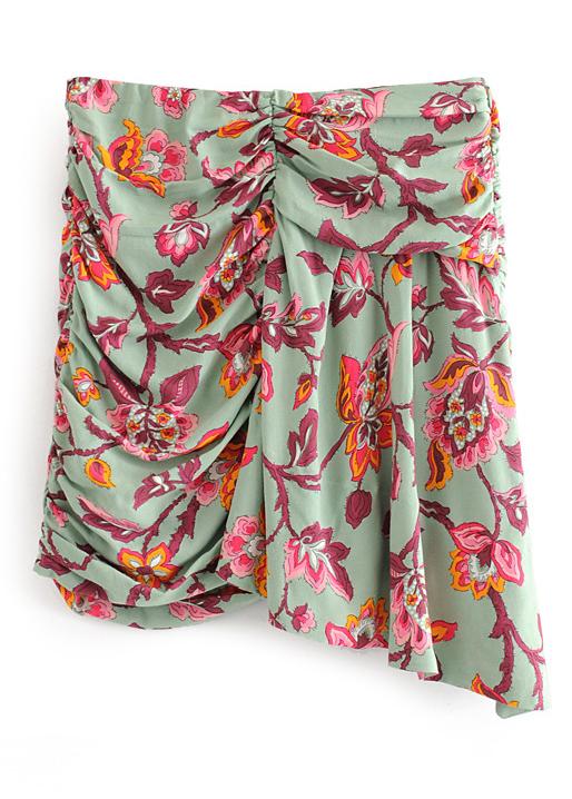 High Waist Ruffle Skirt in Green Floral