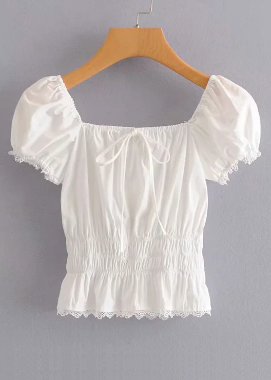 Puff Sleeve Top in White
