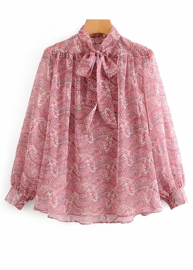 Necktie Detail Floral Blouse