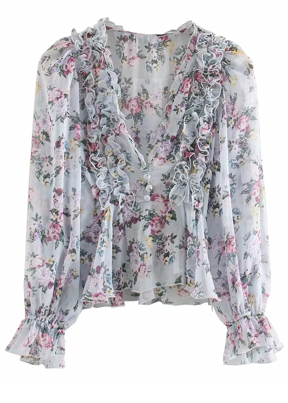 Frill Detail Blouse in Blue Floral