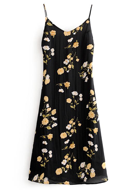 Tie Back Maxi Dress in Black Floral