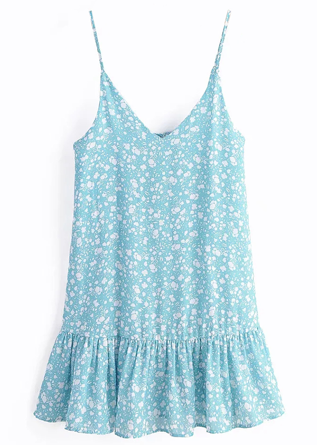 Slip Dress in Blue Floral