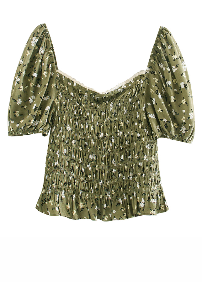 Smock Blouse in Green Floral
