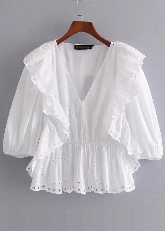 Flounce Overlay Detail Blouse in White