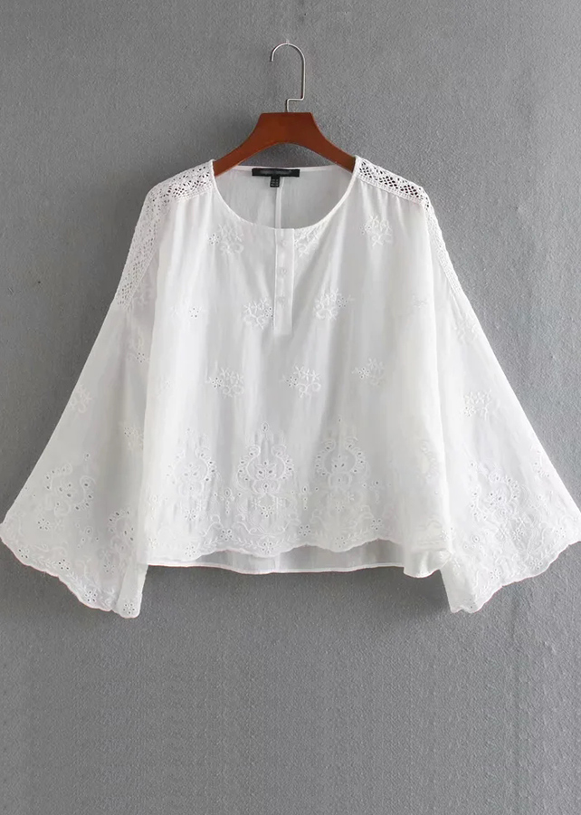 Bell Sleeve Embroidered Blouse in White