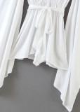 Bell Sleeve Romper in White