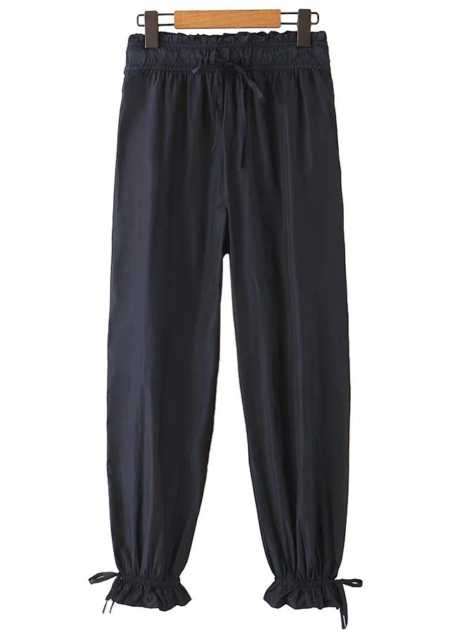 High Waist Drawstring Detail Pants