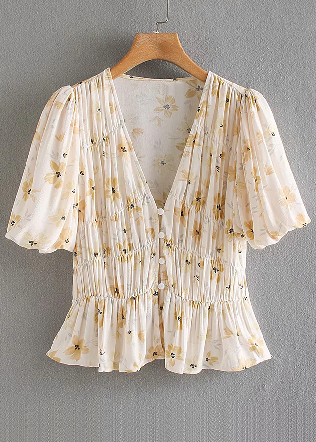 Ruffle Blouse in Beige Floral