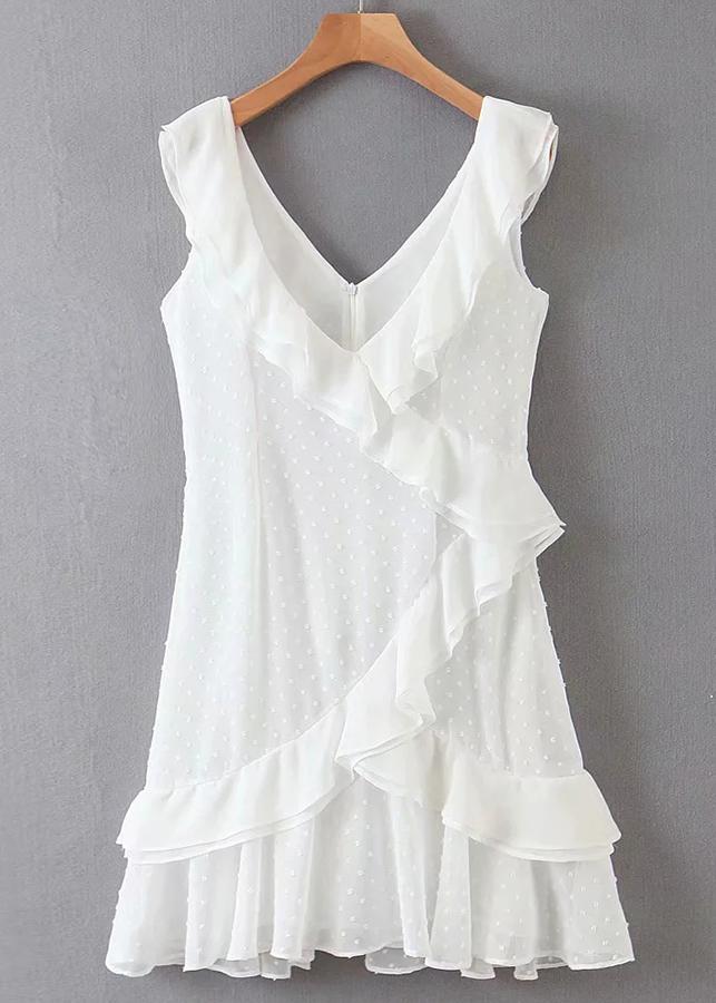 Flounce Detail Short Dress in White