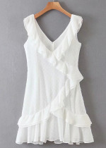Flounce Detail Short Dress in White
