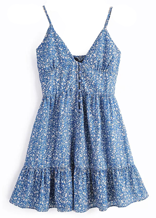 Mini Dress in Blue Floral