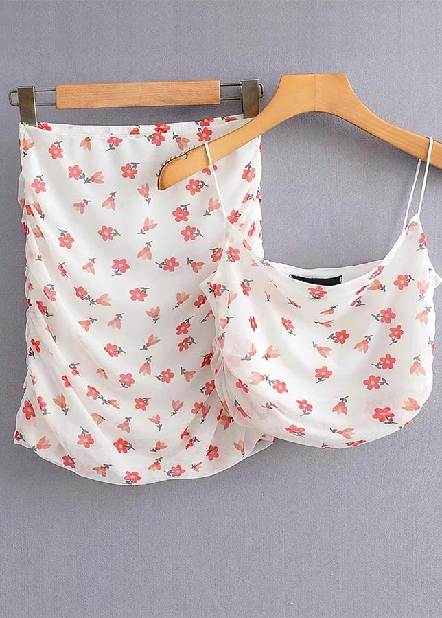 White Floral Sheer Mesh Set ( Crop Top & Skirt )