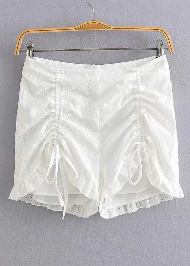 High Waisted Embroidered Shorts in White