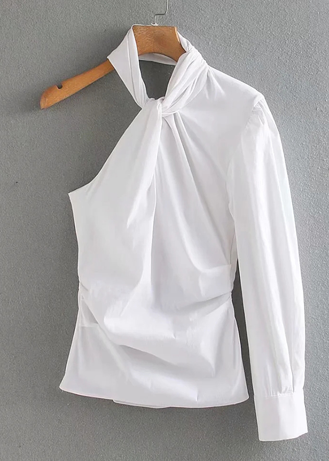 One-Shoulder Blouse in White