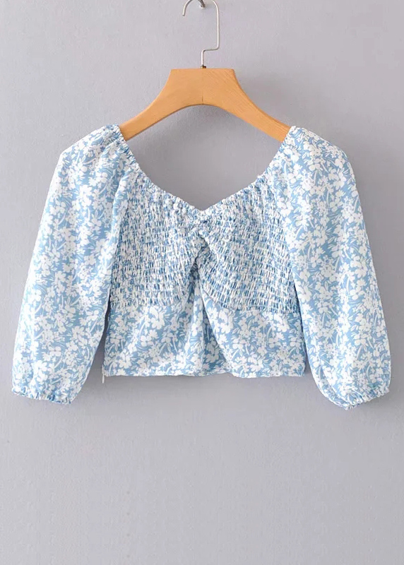 Smock Detail Floral Crop Top