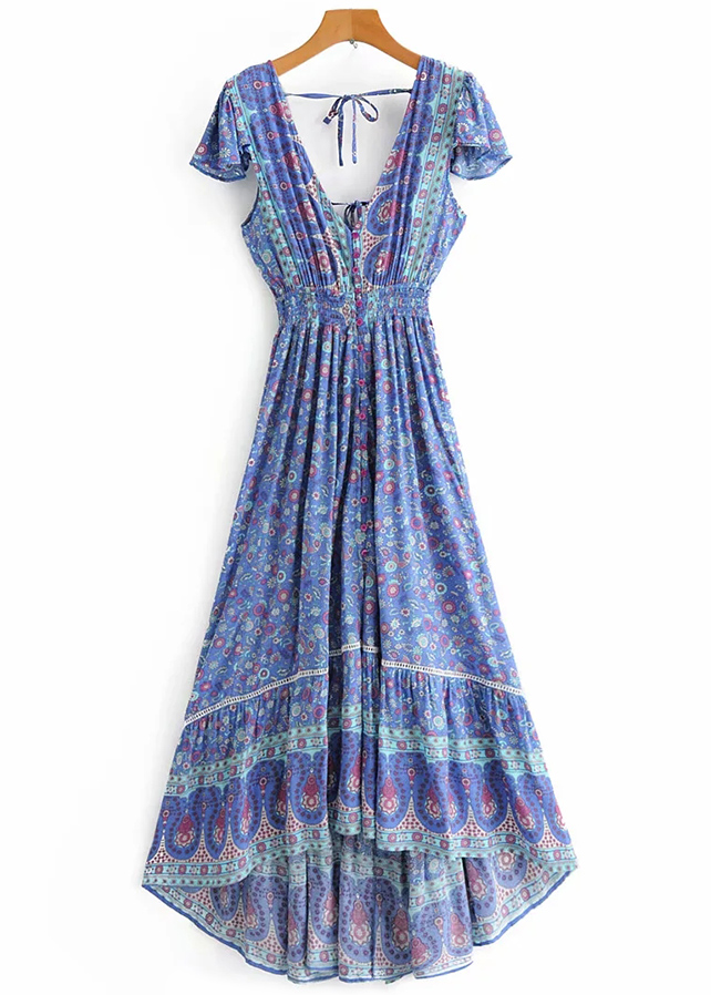 Backless Maxi Dress in Blue Floral