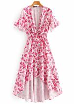 Hi-Low Hem Maxi Dress in White Floral