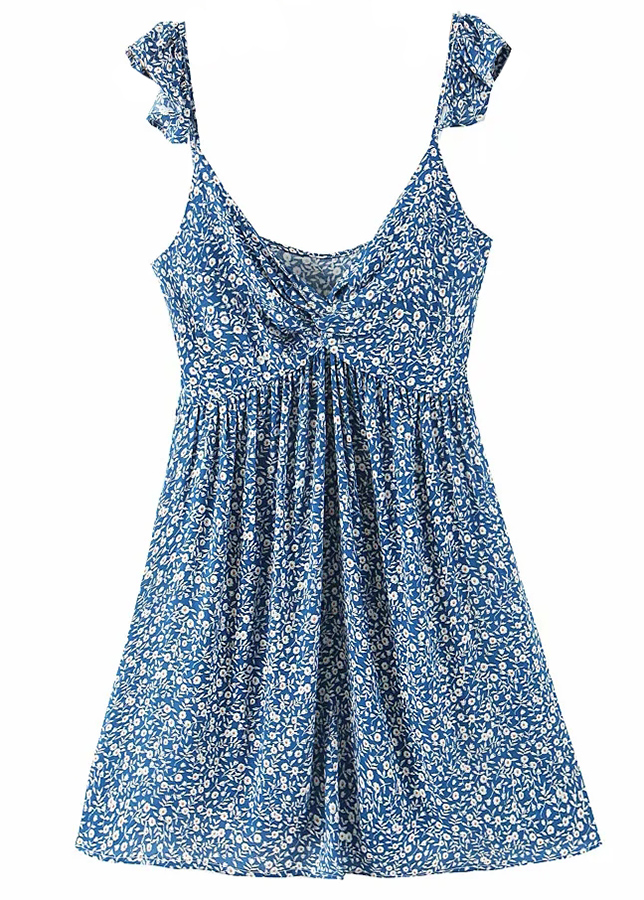 Frill Straps Dress in Blue Floral
