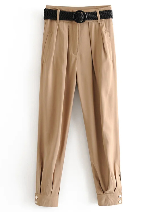High Waisted Pants with Belted