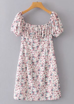 Ruffle Detail Short Dress in White Floral