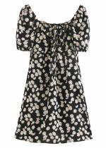 Short Dress in Black Floral