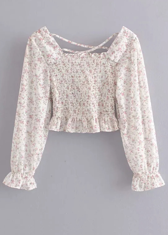 Smocked Bodice Floral Blouse ( in 2 Colors )