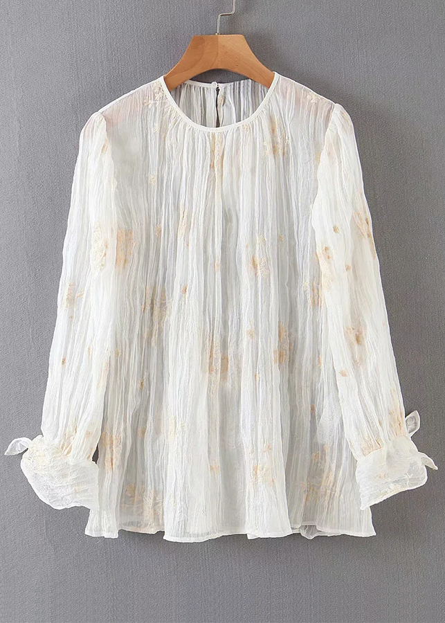 Semi-Sheer Embroidered Blouse in Cream