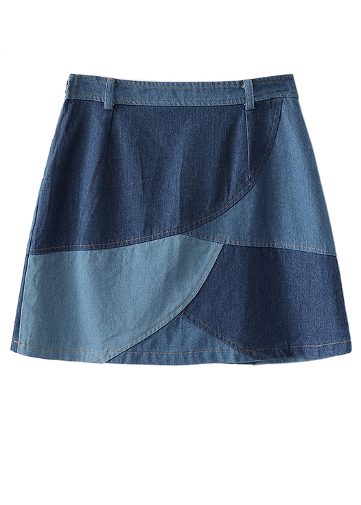 High Waisted Contrast Denim Skirt