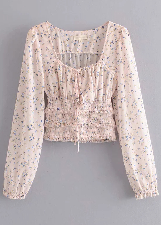 Smocked Waist Blouse in Blush Floral