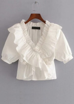 Puff Sleeve Blouse in White