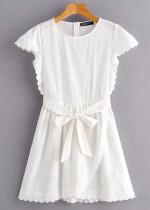 Scalloped Detail Short Dress in White