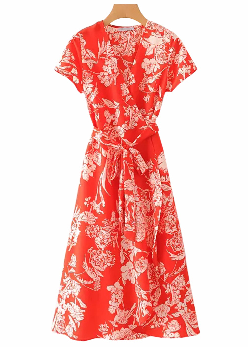 Maxi Dress in Red Floral