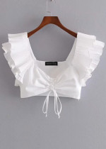 Ruffle Sleeves Top in White