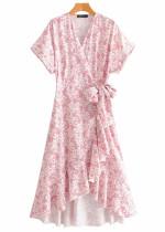Hi-Low Hem Maxi Dress in Pink Floral