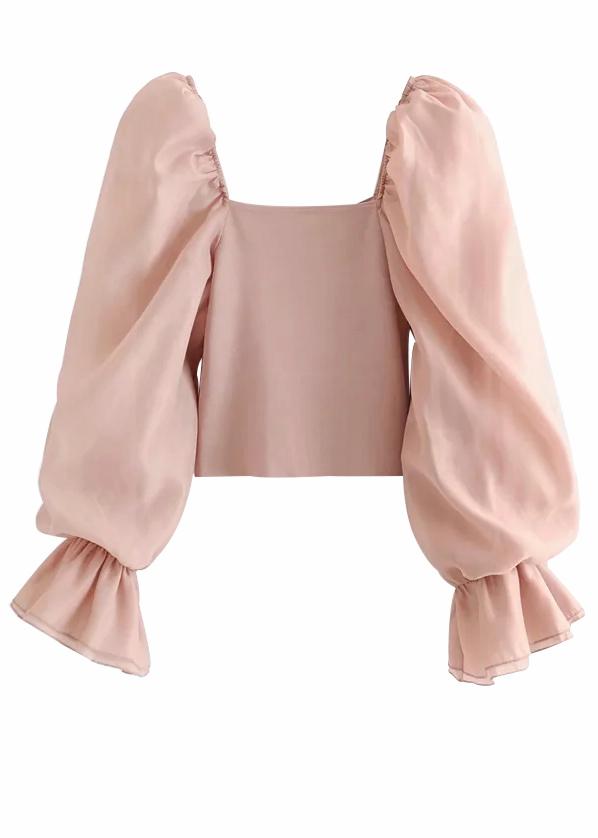 Sheer Mesh Sleeves Blouse in Pink