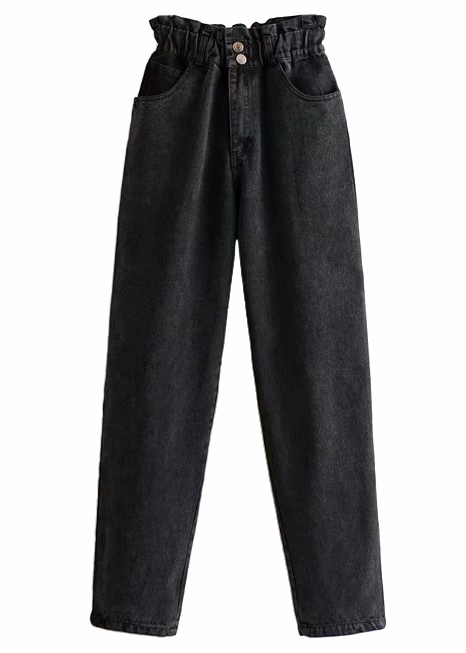 High Waisted Straight Jeans in Black