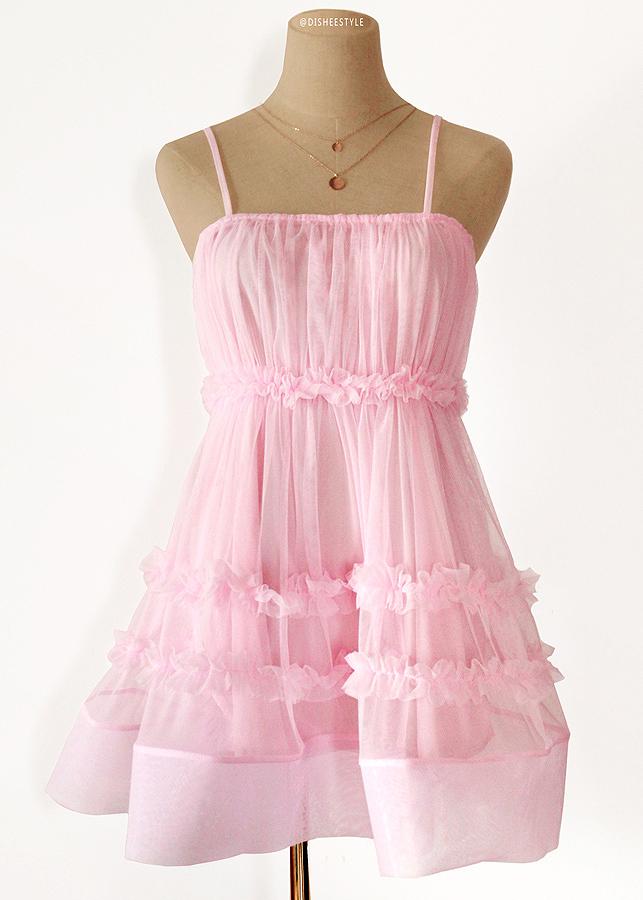 Sheer Mesh Short Dress in Pink