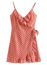 Ruffle Slip Dress in Melon Dot