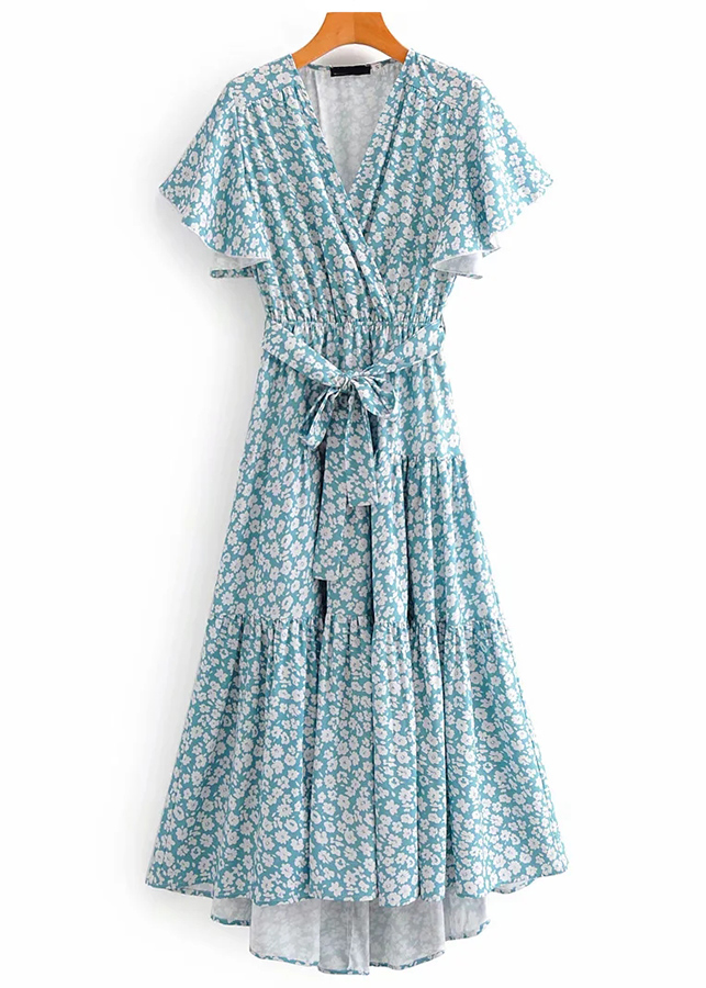 Hi-Low Hem Maxi Dress in Blue Floral
