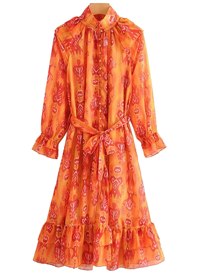Long Sleeve Maxi Dress in Orange Floral