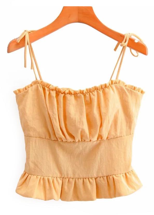 Ruffle Crop Top in Orange