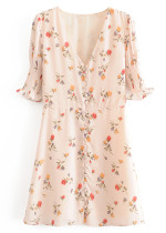 Button Front Floral Dress
