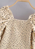 Crop Blouse in Beige Dot