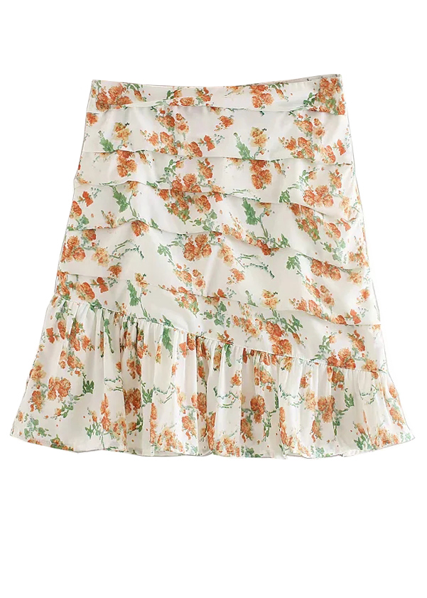 High Waisted Floral Skirt ( in 2 Colors )