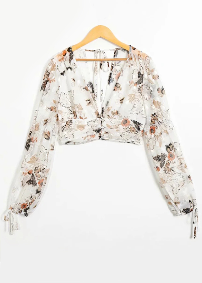 Sheer Mesh Crop Blouse in White Floral