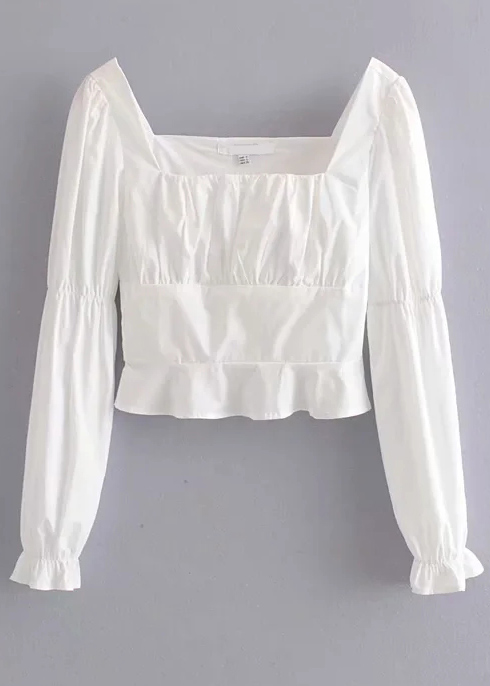 Ruffle Detail Blouse in White