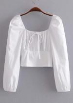 Long Sleeves Crop Blouse ( in 2 Colors )