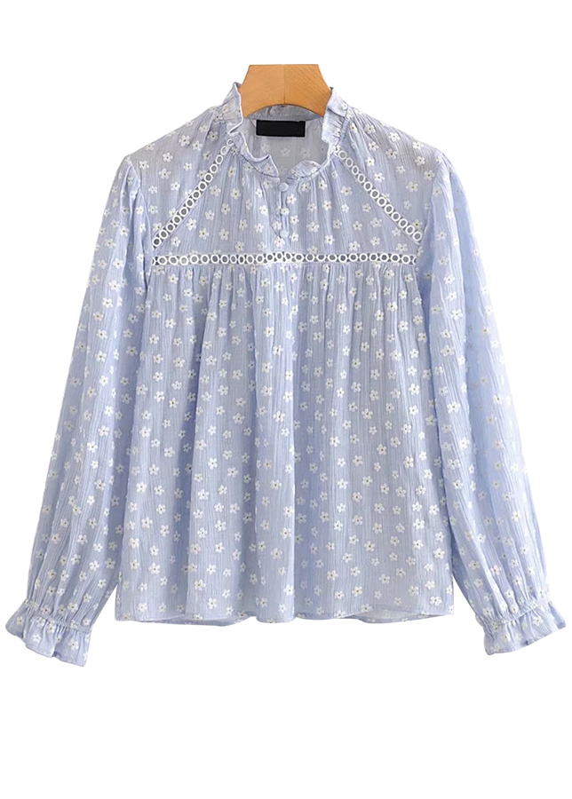 Embroidered Blouse in Blue Floral